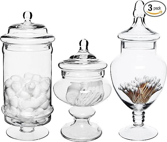 Amazon Com Set Of 3 Deluxe Apothecary Jar Sets Glass Kitchen Storage Jars Terrarium Home Decor Centerpieces Home Improvement