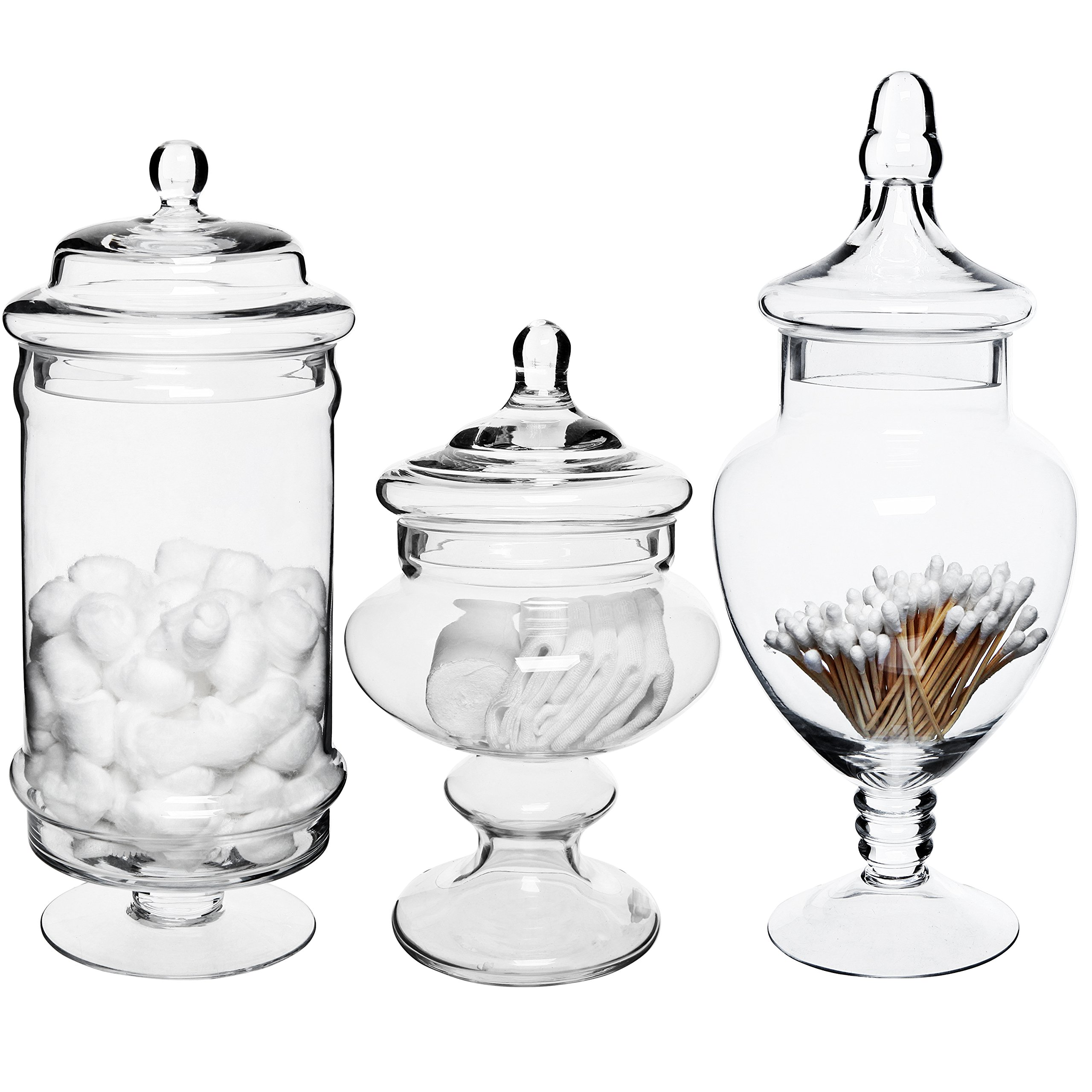 MyGift Set of 3 Deluxe Apothecary Jar Sets/Glass Kitchen Storage Jars/Terrarium & Home Decor Centerpieces by MyGift