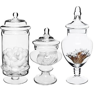 MyGift Set of 3 Deluxe Apothecary Jar Sets/Glass Kitchen Storage Jars/Terrarium & Home Decor Centerpieces