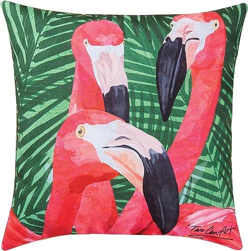 Home Garden Pink Flamingos Tropical Beach Premium Indoor/Outdoor Decorative Accent Throw Pillow 18 x 18 Multi