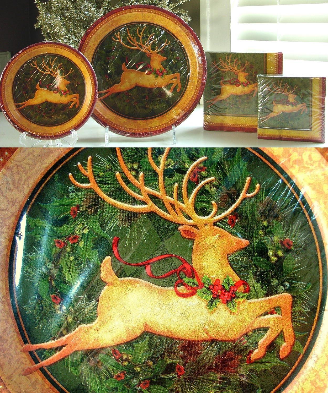 Amazon.com: Christmas Holly Deer Paper Plates and Napkins Set of 144 ...