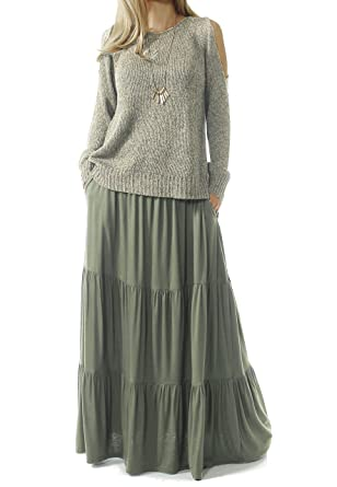 60s Skirts | 70s Hippie Skirts TRENDY UNITED Womens Bohemian Style High Waist Shirring Ruffle Pocket Skirt $27.99 AT vintagedancer.com