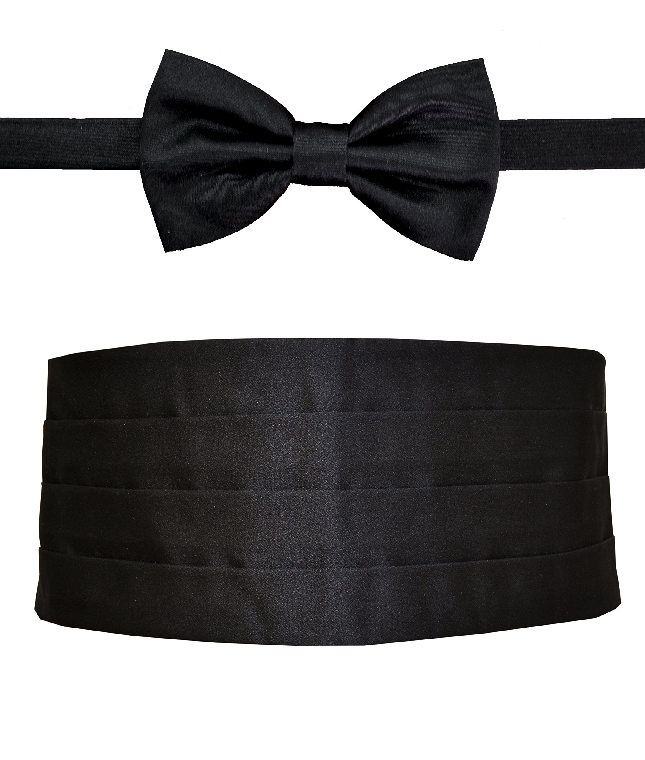 Remo Sartori Made in Italy Men's Black Silk Cummerbund Tuxedo Belt & BowTie Set, Silk (Medium: Adjustable from 29'' to 35'')