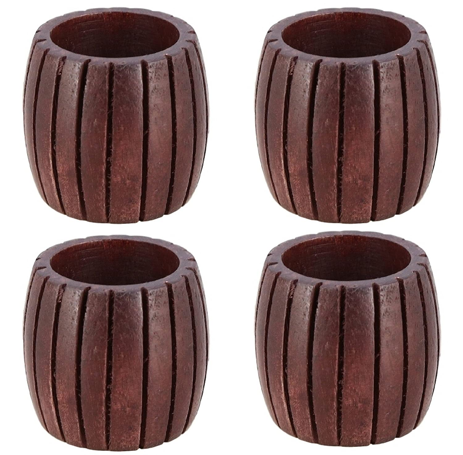 CW- 02-4 ARN Craft Handcrafted Grooved Wood Napkin Rings Set of 4 for Wedding Party Decoration