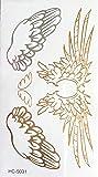 STRASS ET PAILLETTES - Mini tatouages éphémères métallique waterproof ailes d'ange or argent. Tatoo temporaire or - Bijou de peau