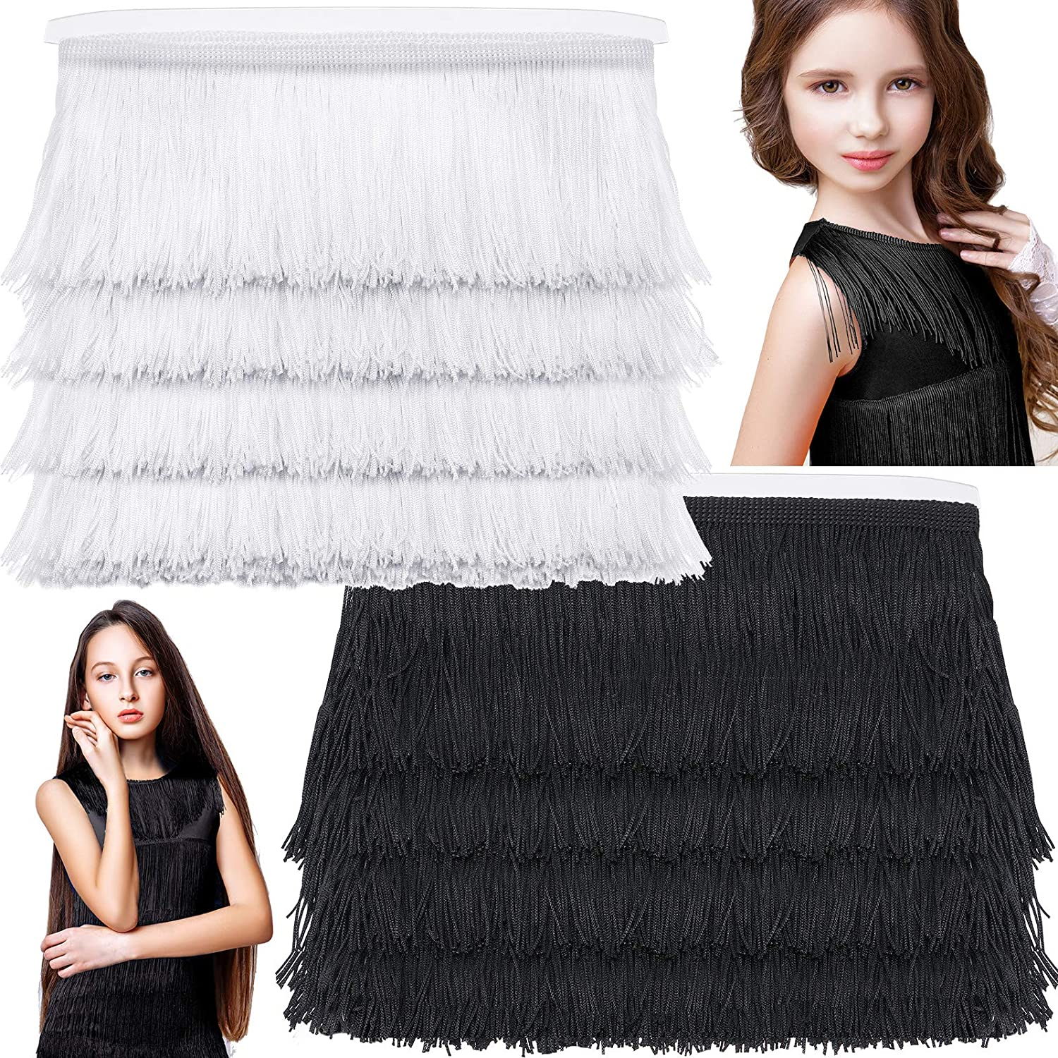 2 Pieces Long Fringe Trim Lace Polyester Fibre Tassel Trim 3.5 Inch Wide 10.4 Yards Long for DIY Sewing Edging Trimming Latin Wedding Dress Stage Clothes Curtain Blanket Hanging Rugs Home Decor