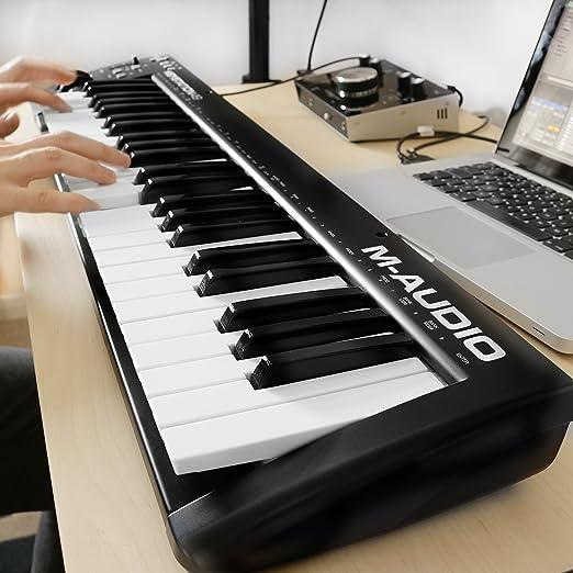M-Audio Keystation 49 II - Teclado controlador USB-MIDI con teclas semicontrapesadas sensibles a la velocidad, color Azul: Amazon.es: Instrumentos musicales