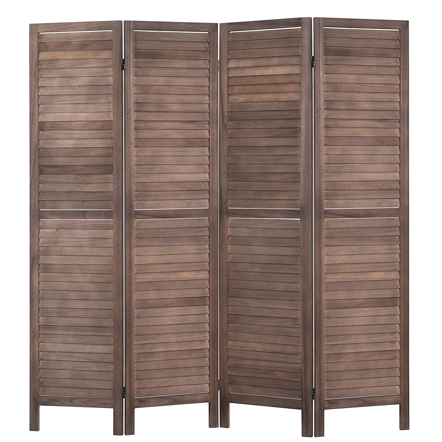 RHF 3 Panel 5.6 Ft Tall Wood Room Divider, Wood Folding Room Divider Screens, Panel Divider&Room Dividers, Room Dividers and Folding Privacy Screens (3 Panel, Brown) Rose Home Fashion