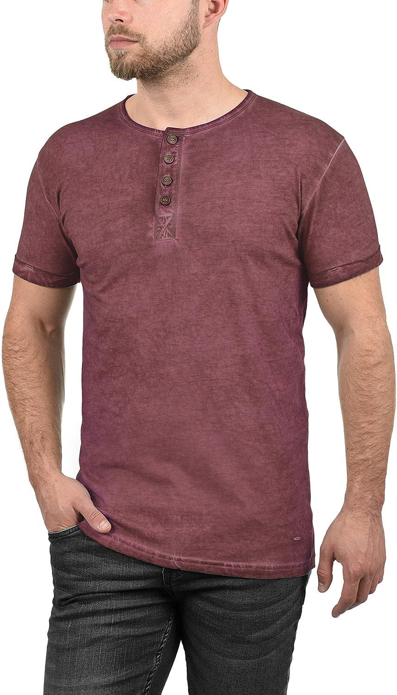 !Solid Tihn Camiseta Básica De Manga Corta T-Shirt para Hombre con Cuello Grandad De 100% algodón