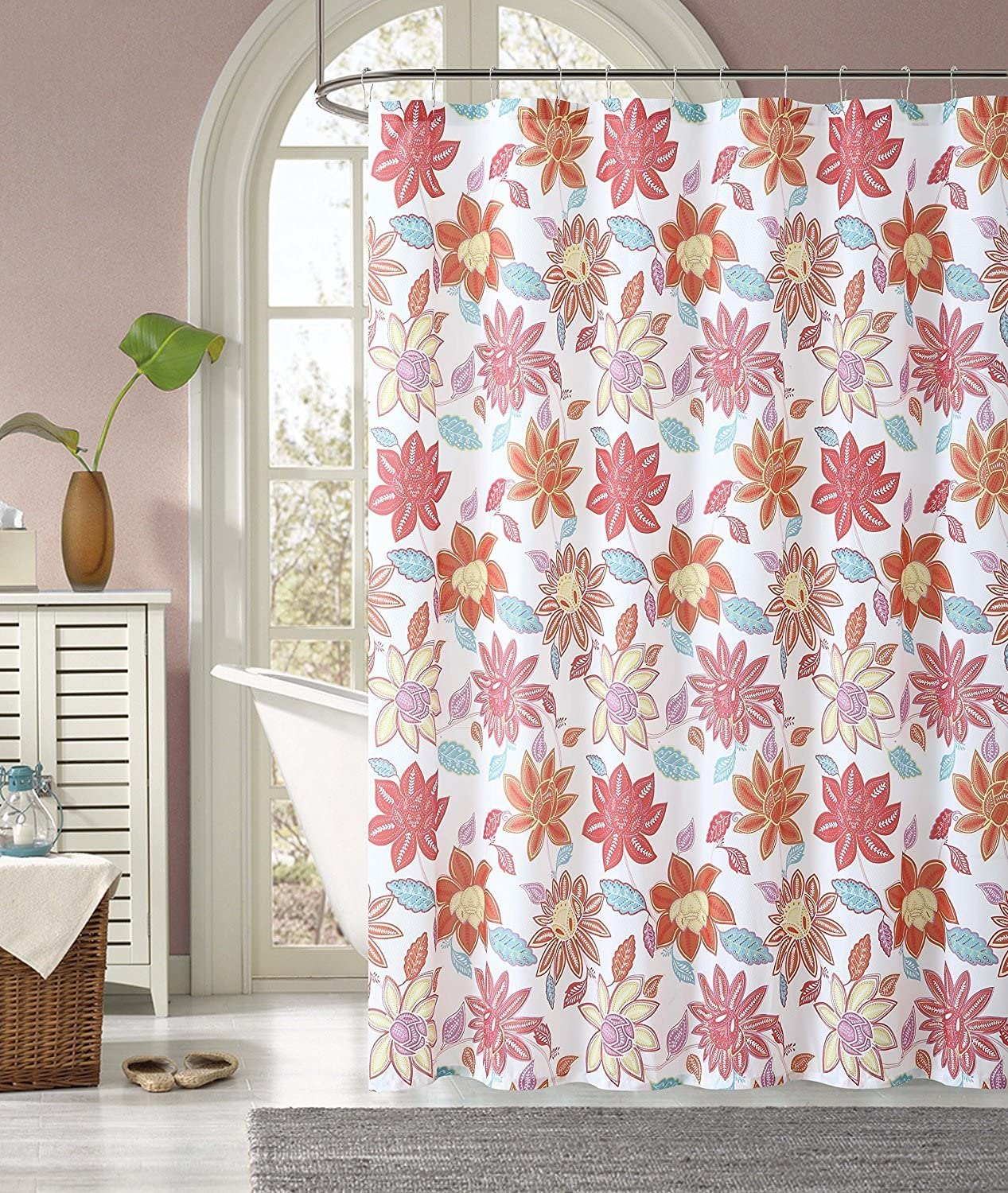 Home Goods Fabric Shower Curtain 72 X 72 INCH Sardinia Red