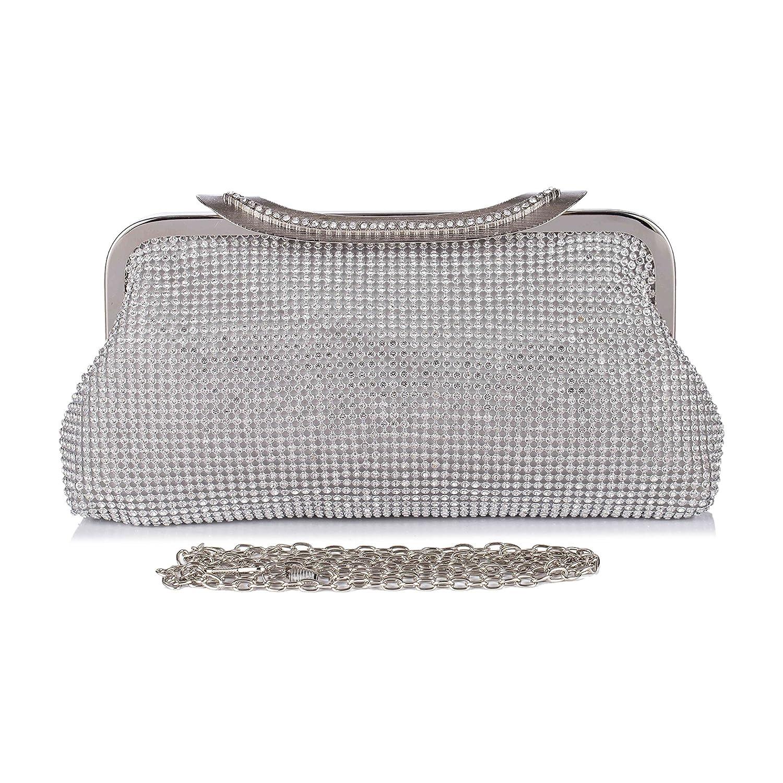 3ab5e5afd62 Amazon.com  Chichitop Crystal Rhinestones Prom Clutches Evening Bags Party  Handbag Wedding Purse Silver  Chichitop