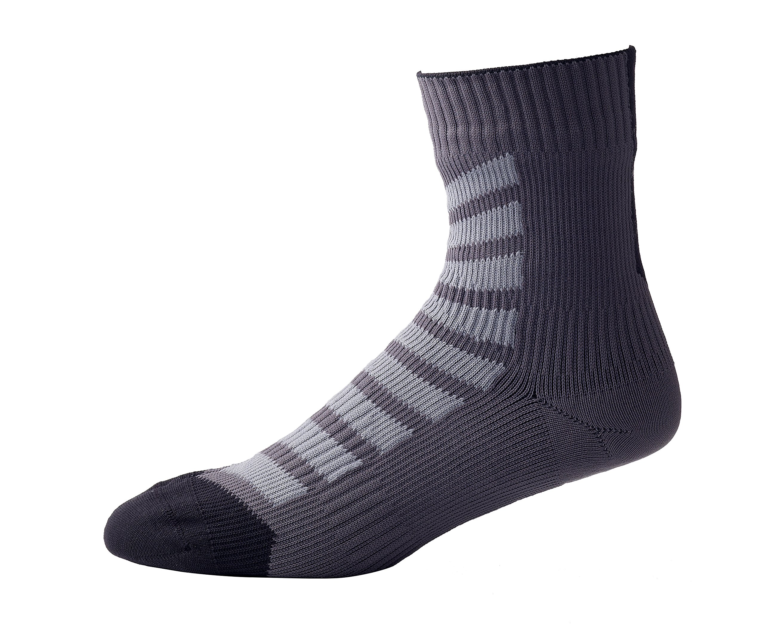 SEALSKINZ MTB Ankle Socks with Hydrostop, X Large - Anthracite/Charcoal/Black. With a Helicase brand sock ring by SEALSKINZ