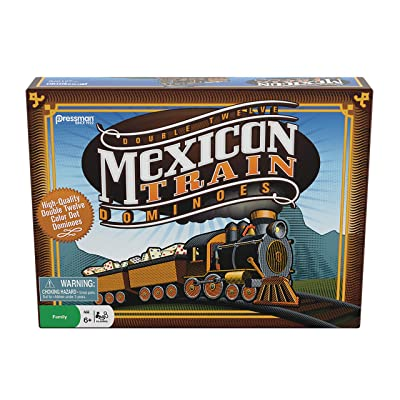 """Pressman Mexican Train Dominoes Beautifully Colored Dominoes - Set Includes Train Markers and Hub, Generic, 5"""" (3928-06): Toys & Games"""
