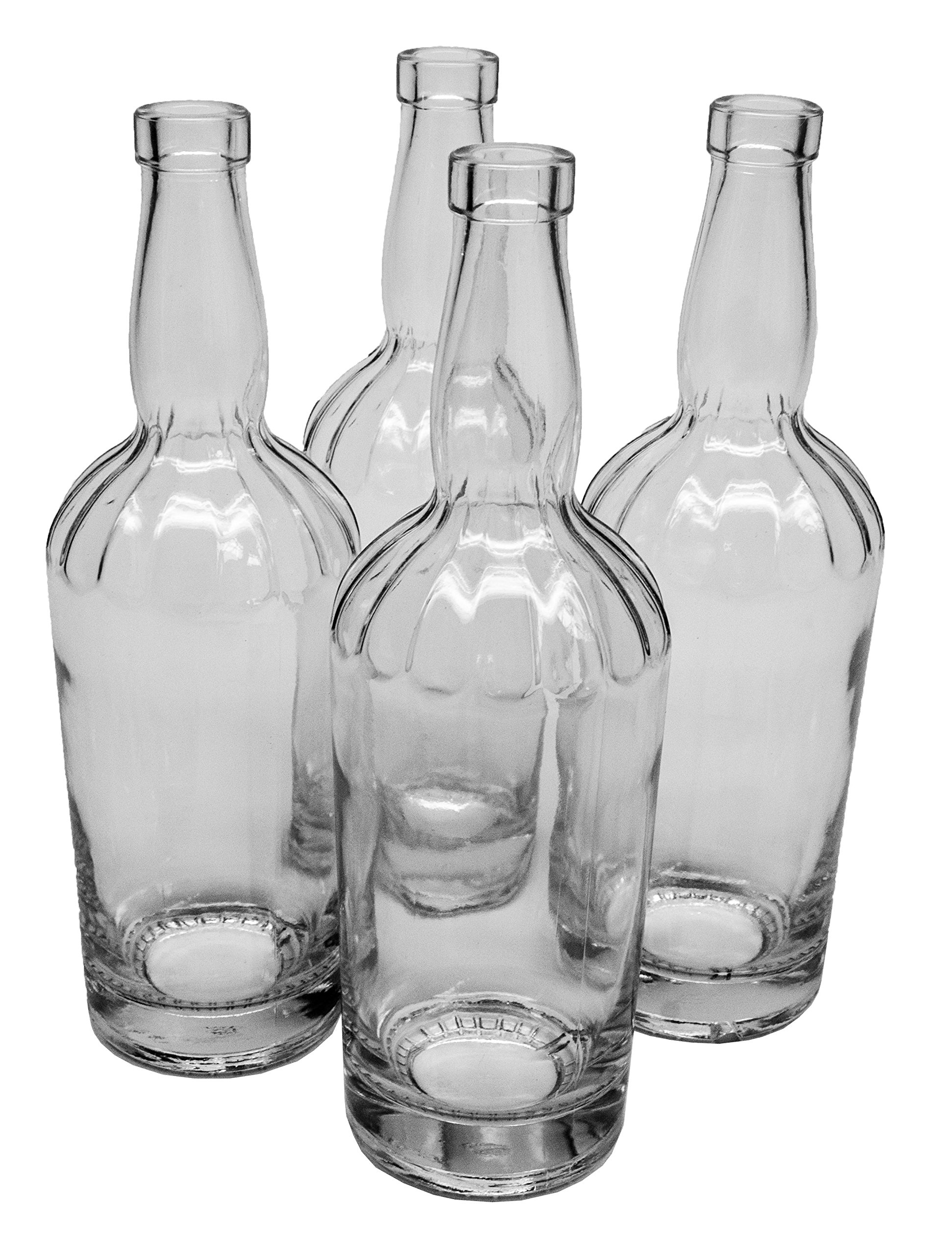 North Mountain Supply Jimmy Lee 750ml Clear Glass Wine/Spirits Bottle Bar Top Finish - Case of 4