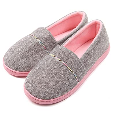 0e88c507606ae ChicNChic Women's Comfortable Cotton Warm House Shoes Anti Slip Grey Slip  on Outdoor Bedroom Slippers