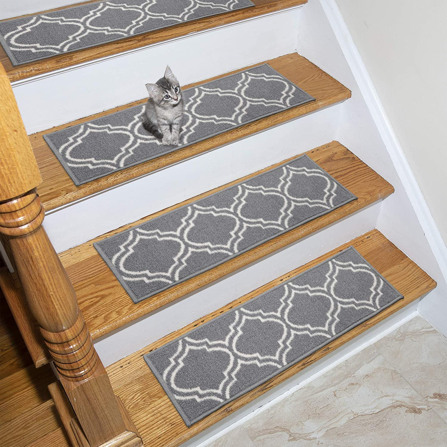 Ottomanson OTH3053-7 Ottohome Collection Stair Tread, 8.5 X 26 Pack of 7, Gray Moroccan Trellis