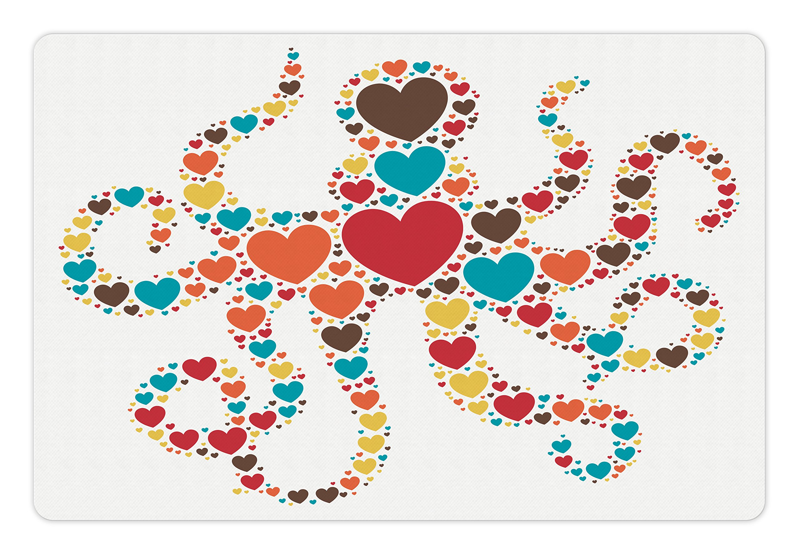 Ambesonne Octopus Pet Mat for Food and Water, Sea Animal Shape with Big and Little Colorful Hearts Love Valentines Day Concept, Rectangle Non-Slip Rubber Mat for Dogs and Cats, Multicolor