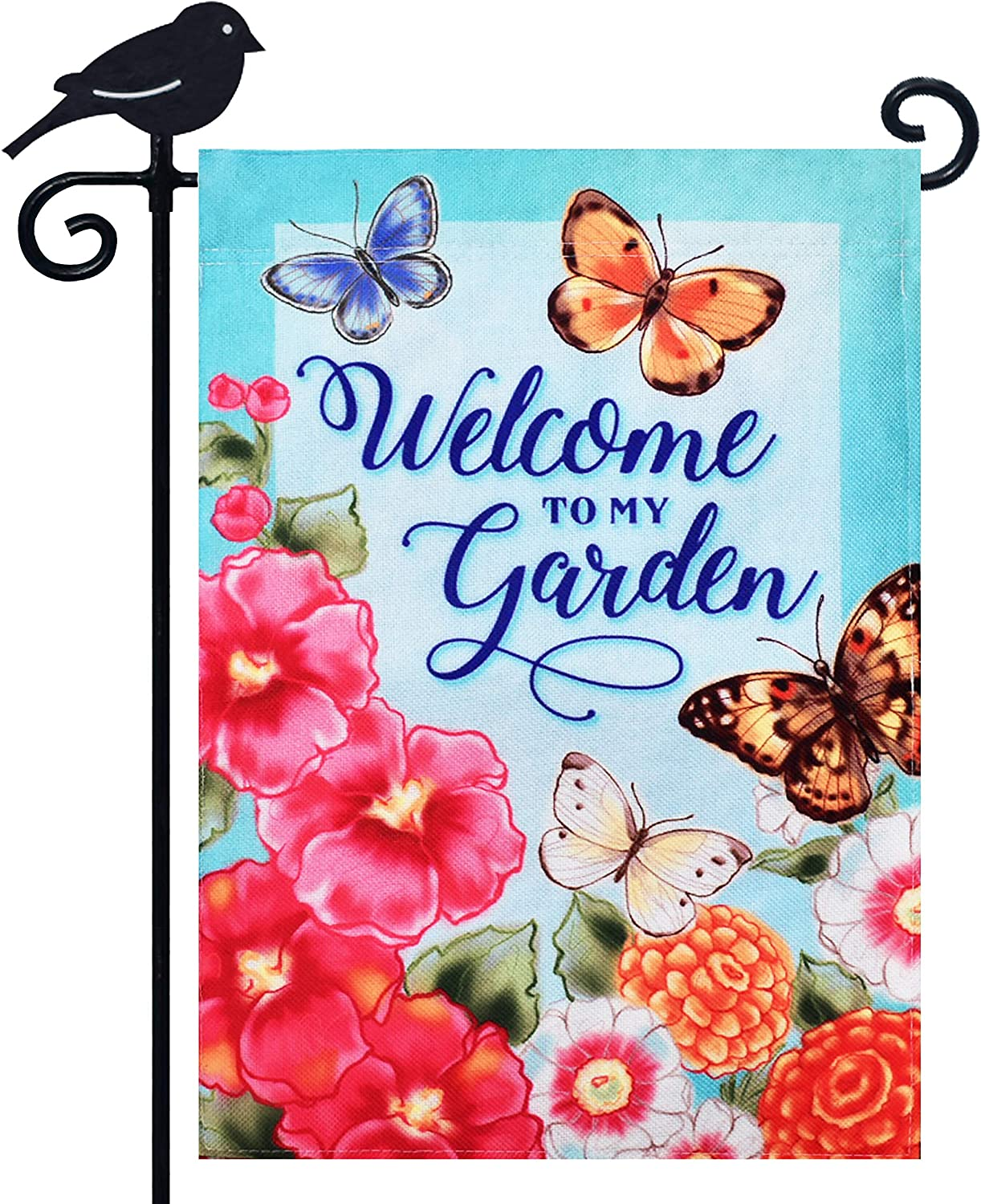 LAYOER Burlap Home Garden Flag Welcome 12.5x18 inch Double Sided Butterfly Flowers Spring Summer Seasonal Indoor Outdoor Decoration Banner