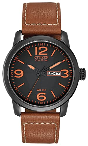 350850577a3 Citizen Men s Eco-Drive Watch with Black Dail Analogue Display and Brown Leather  Strap BM8475