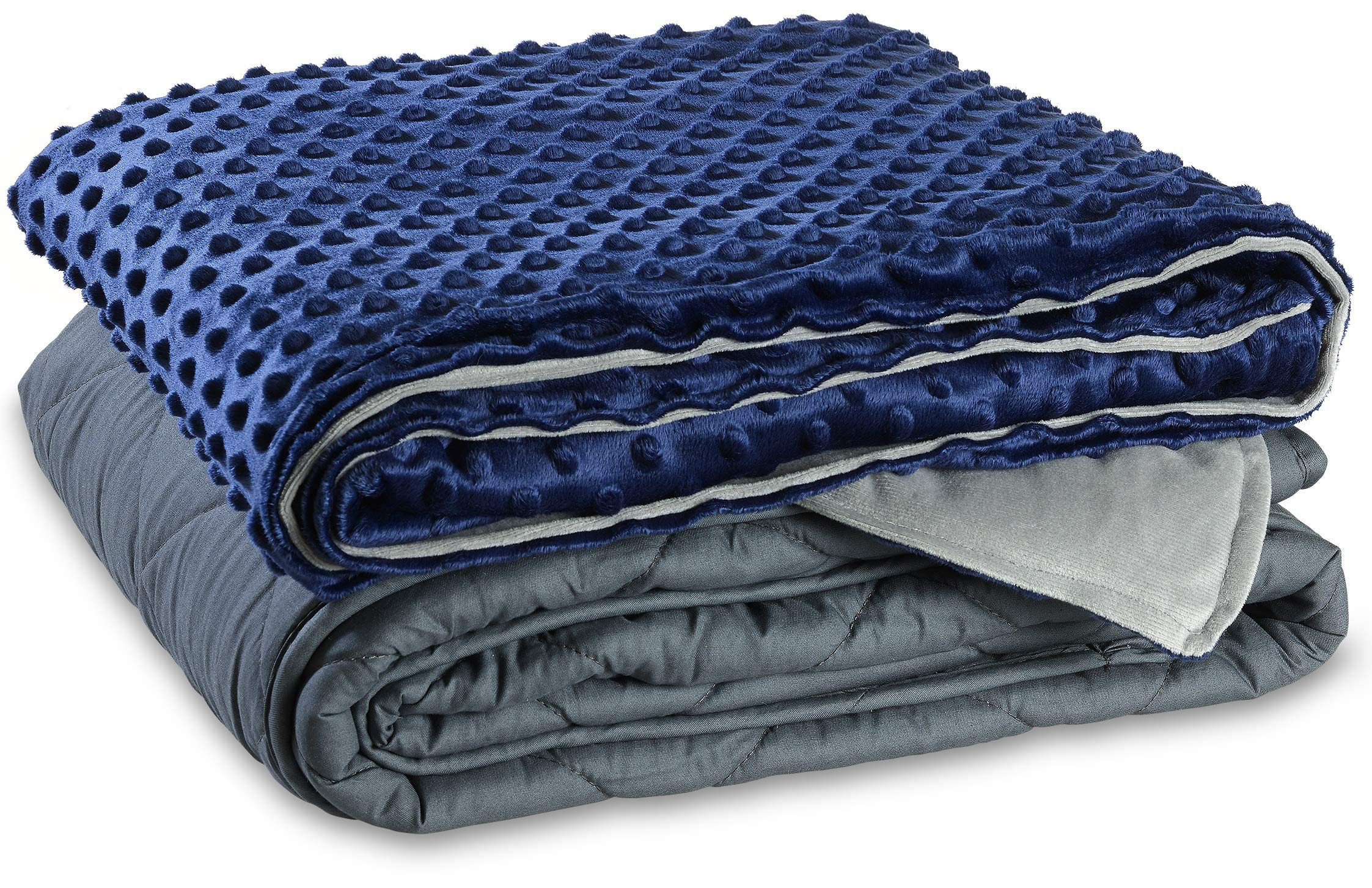 SlumberCovers Weighted Blanket for Kids, 7 pounds (for Kids 40 to 80 lbs). Includes 2-Sided Dotted Minky Cover 41''x60'' Navy Blue and Gray. PerfectStay Keeps Weighted Beads in Place.
