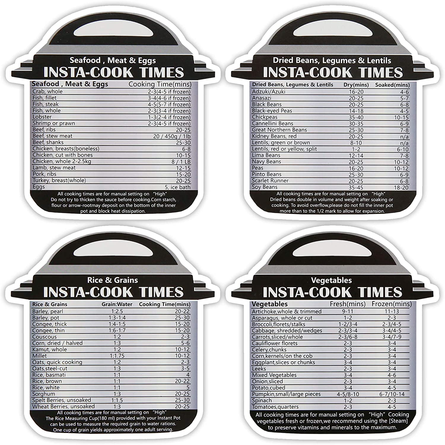 Komfyko 4 pack Magnetic Cheat Sheet for Pressure cooker - Easy to Read Quick Reference Guide. Compatible with Instant Pot. Compact Design with Cooking Times for Meats, Veggies. Waterproof, Easy Clean.
