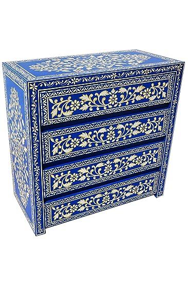 Orientalische Kommode Sideboard Adam 90cm Blau Weiß   Orient Vintage ...