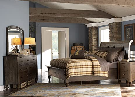 Liberty Furniture Southern Pines Bedroom Queen Storage Bed, Bark Finish