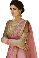 Fashionfort Women's Georgette Saree With Banglori Blouse Piece (Fftz_Pink & Gold)