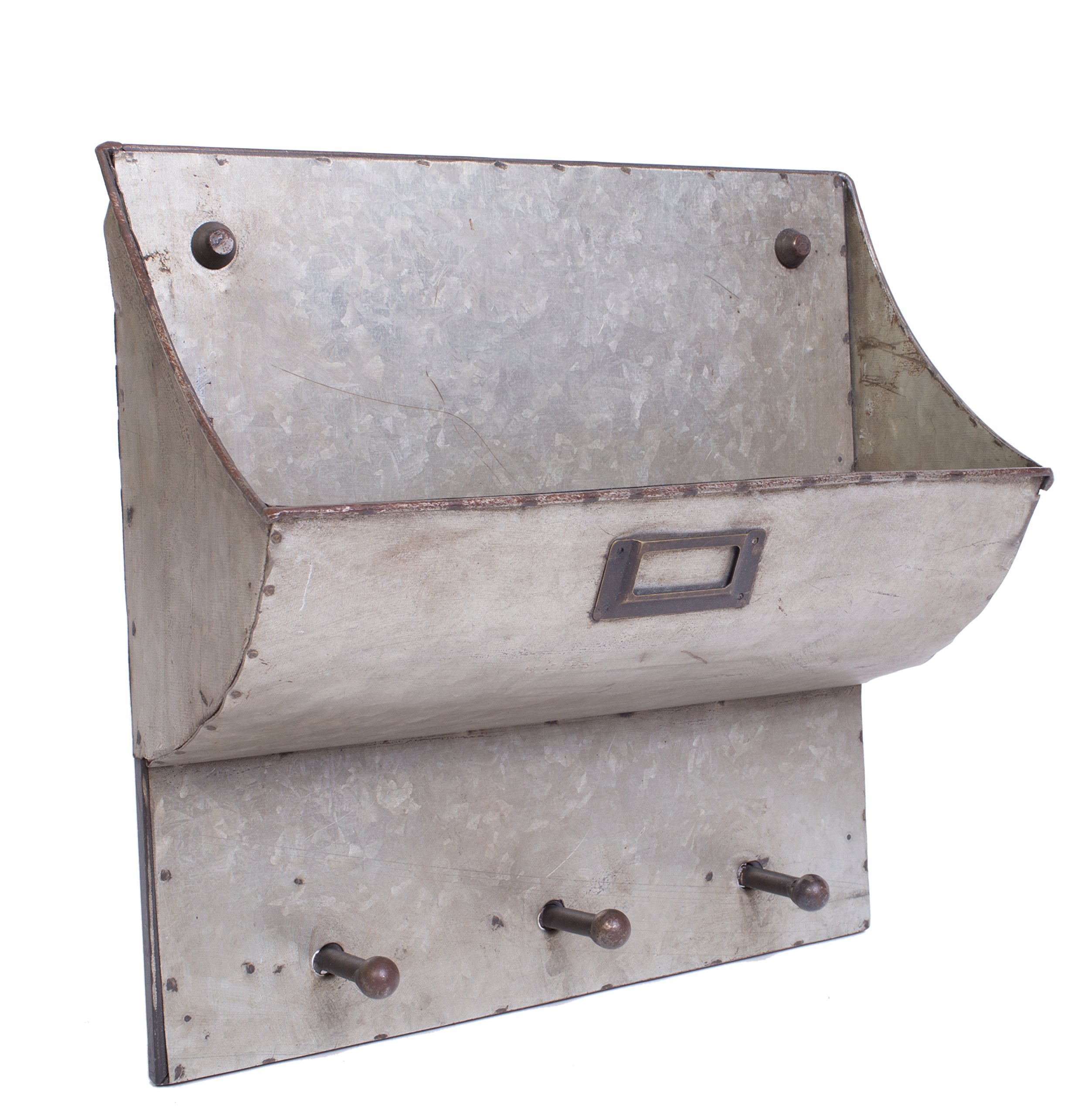Galvanized Metal Wall Pocket with Hooks - Primitive Décor Style by Red Co. (Image #2)