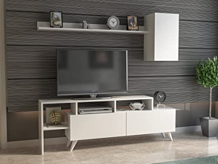 Decorotika Polo 58u0026quot; TV Stand   Entertainment Center   White   Wall  Shelf And Wall