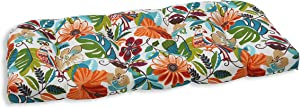 """Pillow Perfect Outdoor/Indoor Lensing Jungle Tufted Loveseat Cushion, 44"""" x 19"""", Off-White"""