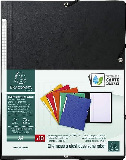 Exacompta 55411E - Pack de 10 carpetas con goma, color negro ...