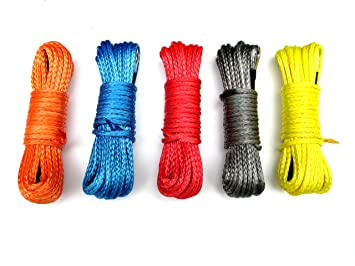 """USonline911 50'x1/4"""" Strong Durable Dyneema Synthetic Winch Rope 6400lbs Fastness Rope For ATV UTV KFI Vehicle Car Motorcycle"""