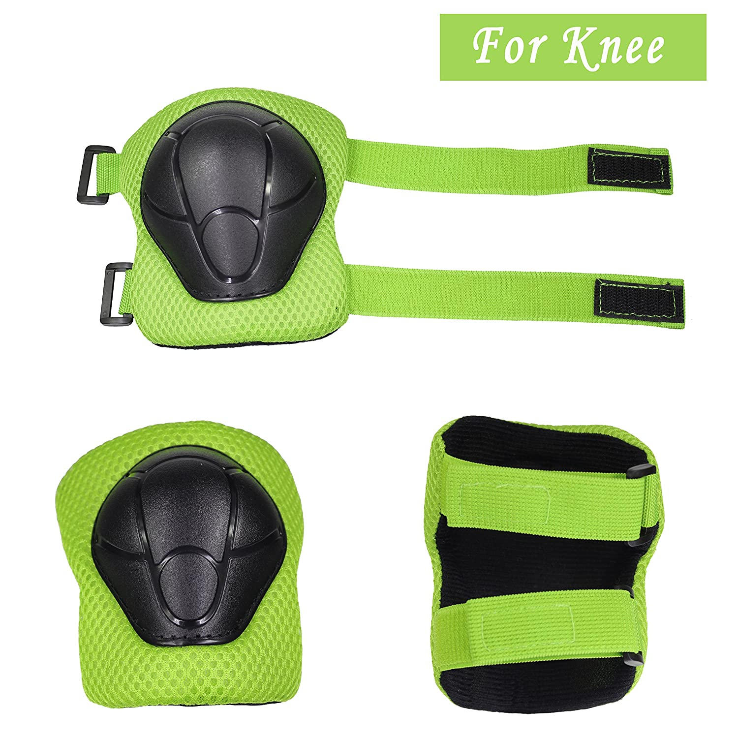 Dostar Kids Adjustable Sports Safety Protective Gear Set Children Knee Pads Elbow Roller Wrist Guards for Skating Cycling and Other Outdoor Sports as Birthday