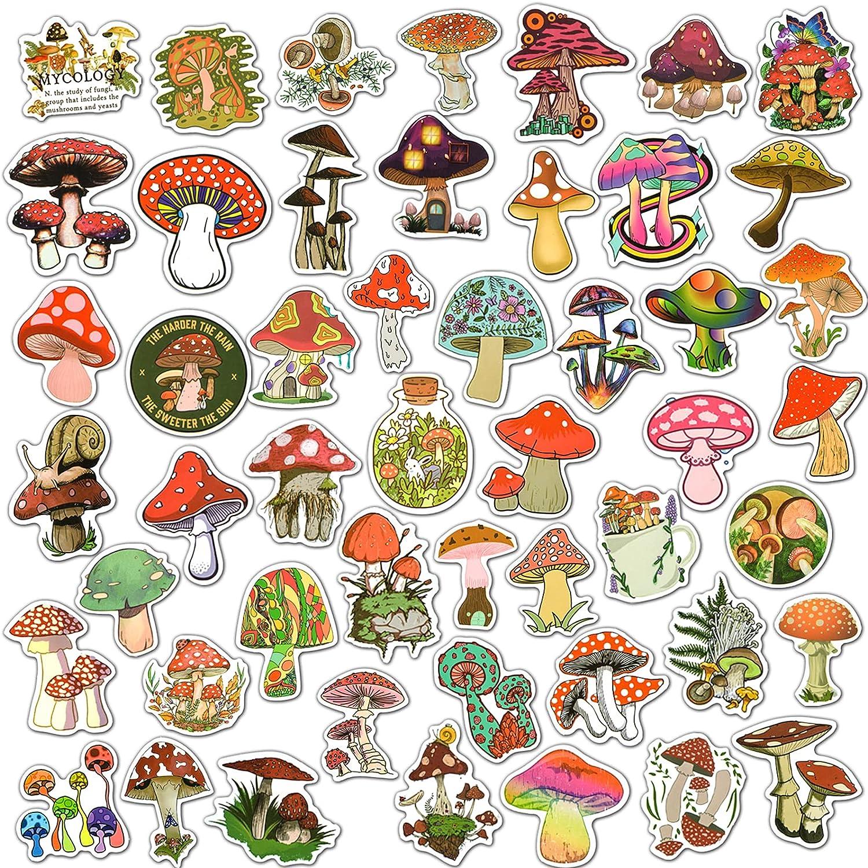50 PCS Mushroom Stickers Variety Waterproof Vinyl Stickers for Laptop,Skateboard,Water Bottles,Refrigerator,Phone, Aesthetic Mushroom Gifts for Adults Teens Girls Boys