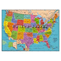 United States of America Map 1000 Piece Jigsaw Puzzle Highways Rivers State Capitals