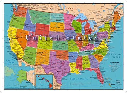 World Map United States Of America.United States Of America Map 1000 Piece Jigsaw Puzzle Highways Rivers State Capitals