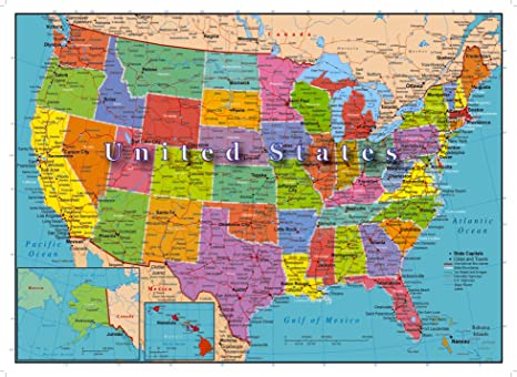 Amazon.com: United States of America Map 1000 Piece Jigsaw Puzzle ...