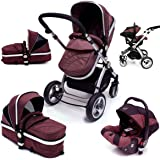 i-Safe System - Hot Chocolate Trio Travel System Pram & Luxury Stroller 3 in 1 Complete With Car Seat