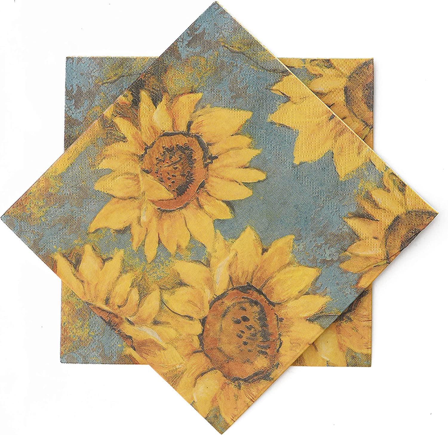"""elinnee Sunflower Paper Napkins for Decoupage, Pack of 40, 3Ply Cocktail Napkins for Dinner Beverage Party Bathroom Guest Disposable Everyday, 13""""x13"""", Sunflower"""