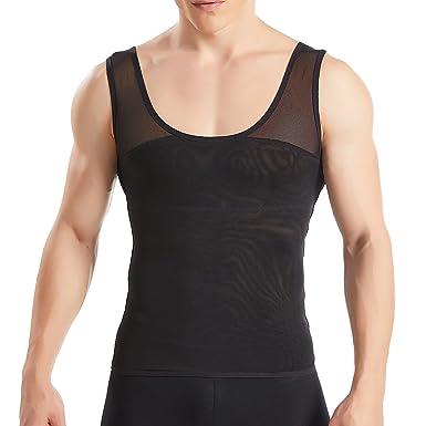 45d78a4286580 HANERDUN Men Body Shaper Chest Compression Shirt Hide Gynecomastia Moobs  Slimming Vest  Amazon.co.uk  Clothing