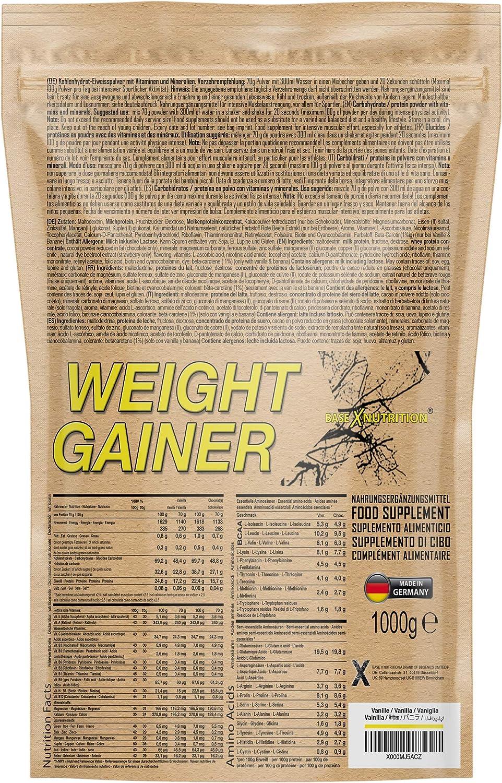 baseXnutrition, WEIGHT GAINER, la base para el aumento de peso óptimo, la masa muscular y la construcción de músculo, 1000g bolsa vainilla