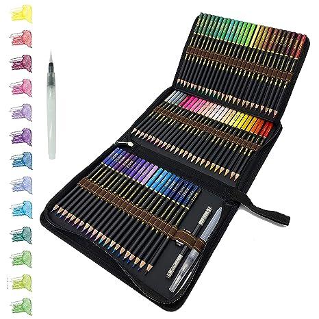 72 Lápices de Colores Acuarelables en estuche con cremallera, Fácil de almacenar y proteger sus lápices de dibujo profesionales, ideales para adultos ...
