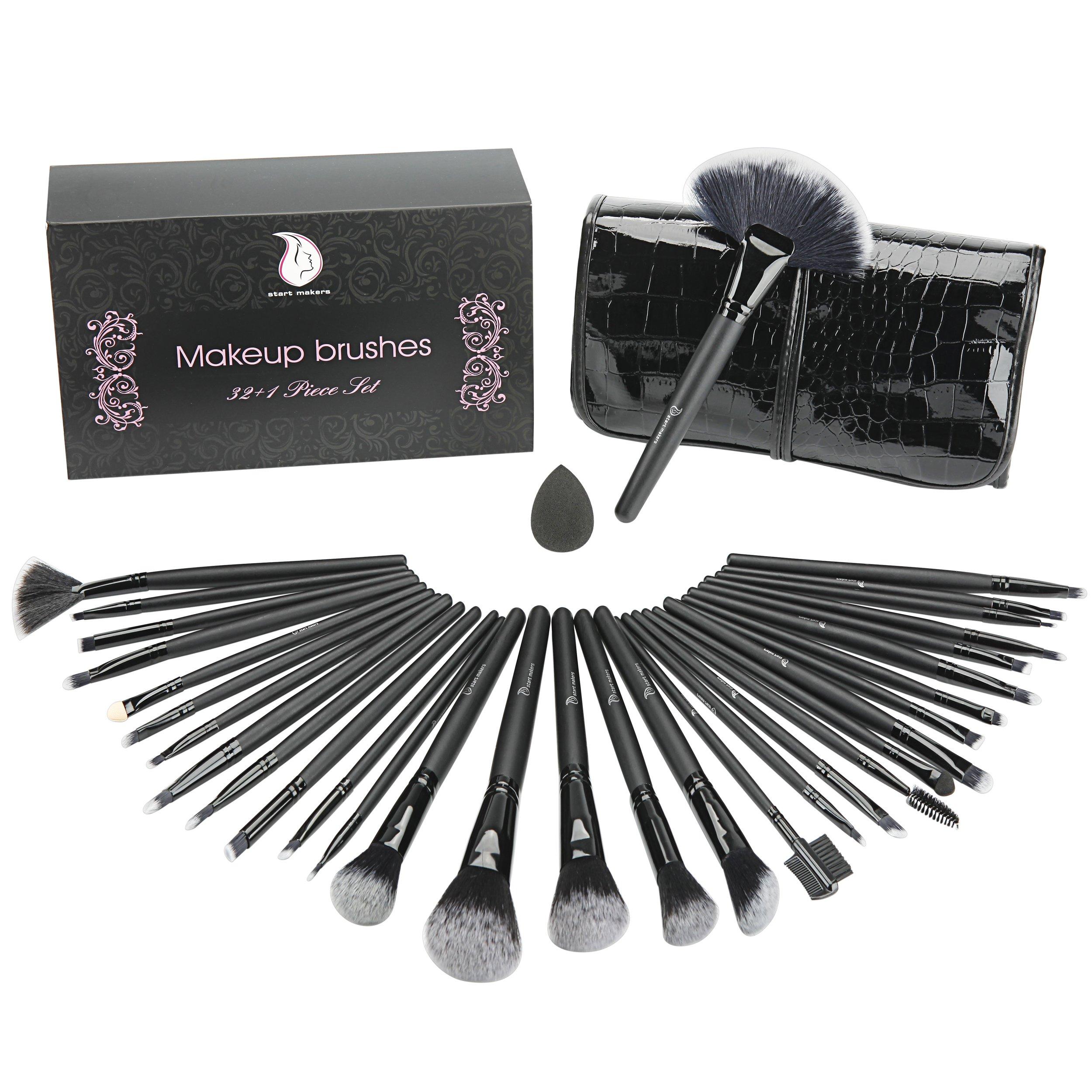32 pièces Kit de Pinceaux Maquillage - Start Makers Parfait Pour l'application de Poudre ou Cosmétiques - Coffret Cadeau Noir