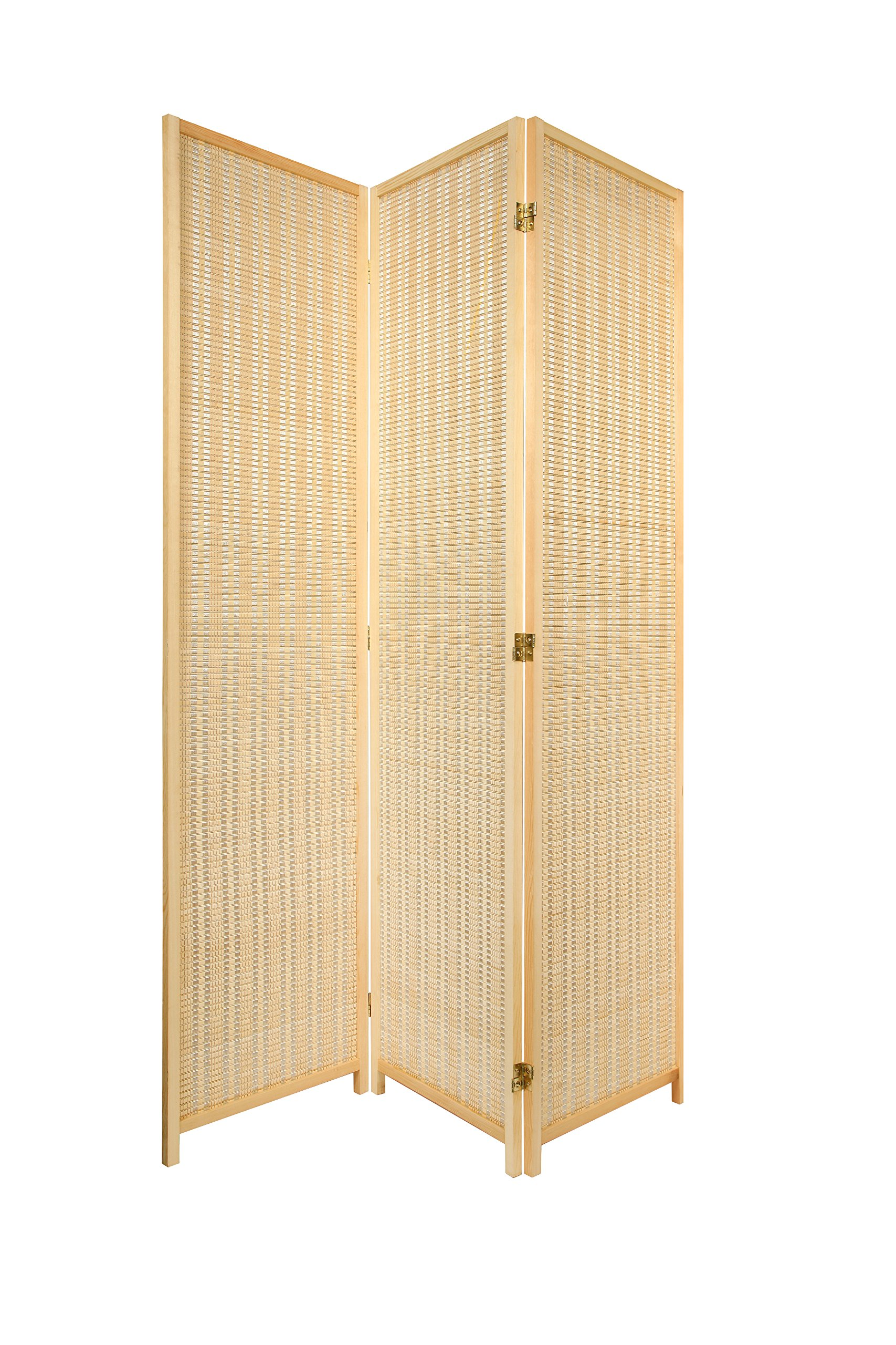 3 Panel Natural Color Wood and Bamboo Weave Room Divider Folding Screen 2-Way Double hinged, By Legacy Decor