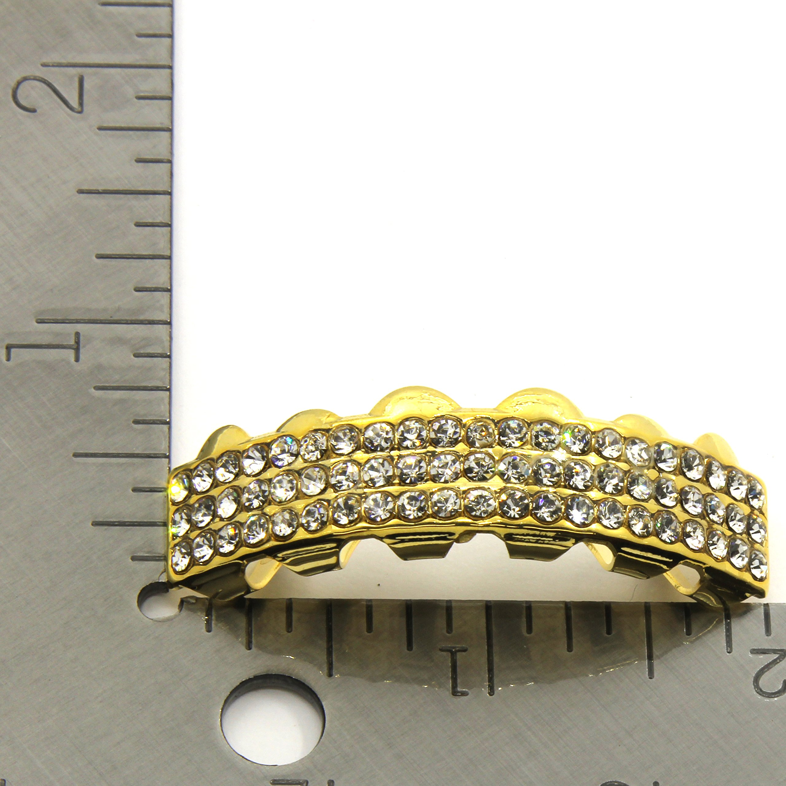Gold/Clear Top & Bottom 6 deck Hiphop bling Grillz Set - Gold Plated