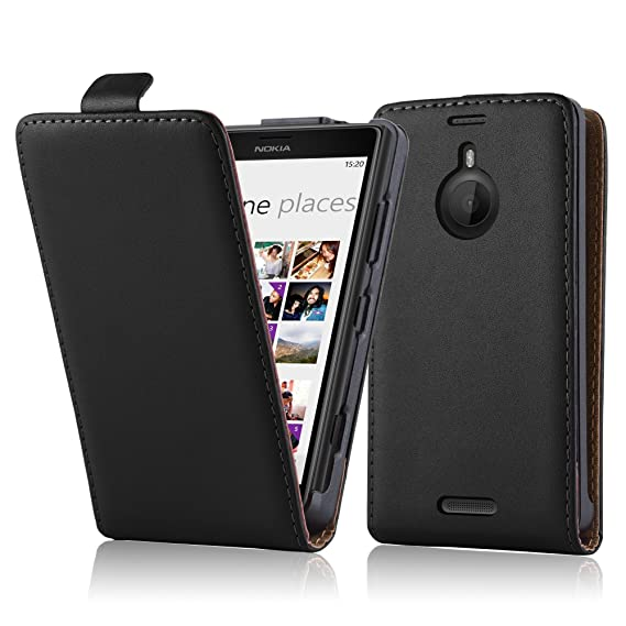 save off 0a29a 8559c Cadorabo Case Works with Nokia Lumia 1520 in Caviar Black – Flip Style Case  Made of Smooth Faux Leather – Wallet Etui Cover Pouch PU Leather Flip