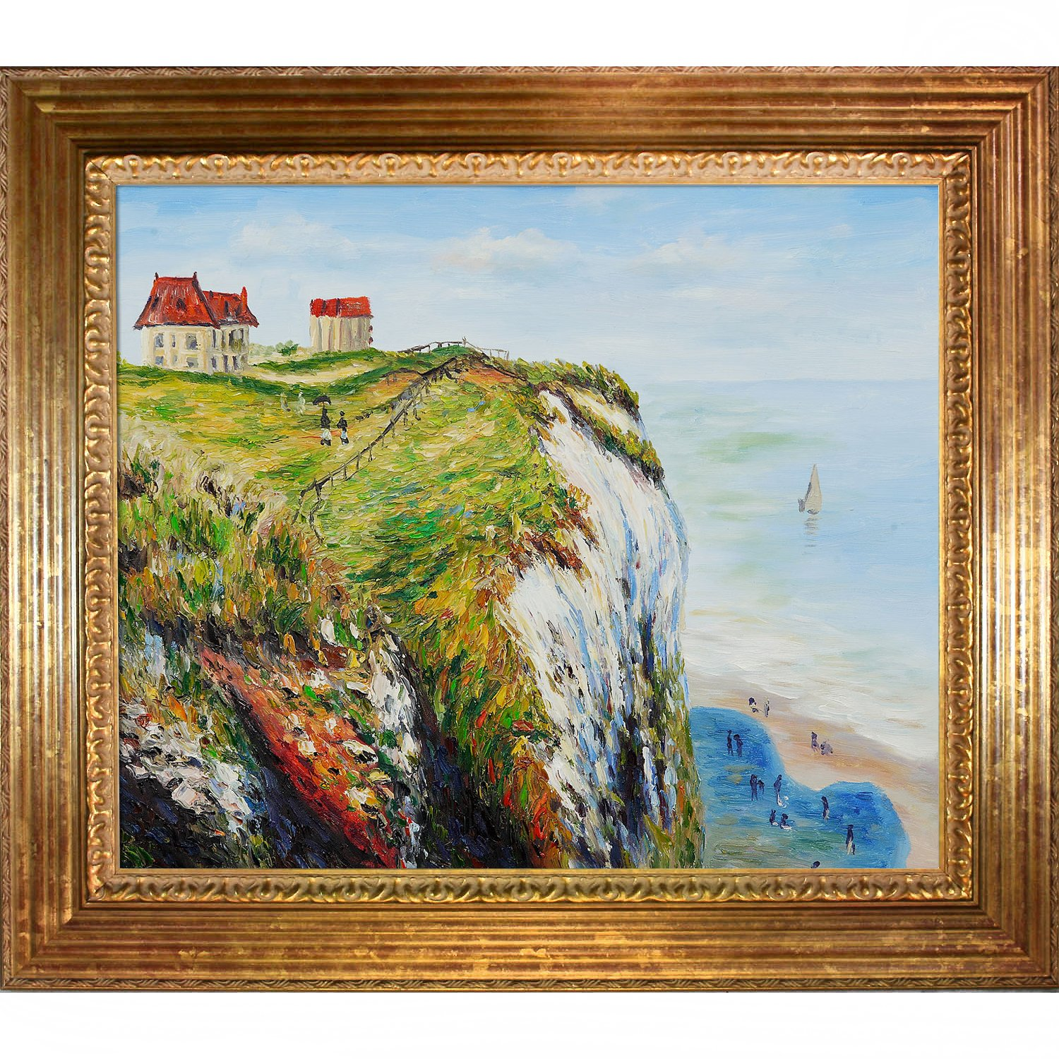 overstockArt Cliff at Dieppe with Vienna Wood Frame Oil Painting by Claude Monet