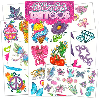 Savvi Glitter Tattoos for Girls Bundle with Over 55 Glitter Temporary Tattoos (Includes Butterflies, Flowers, Fairies, and More): Toys & Games