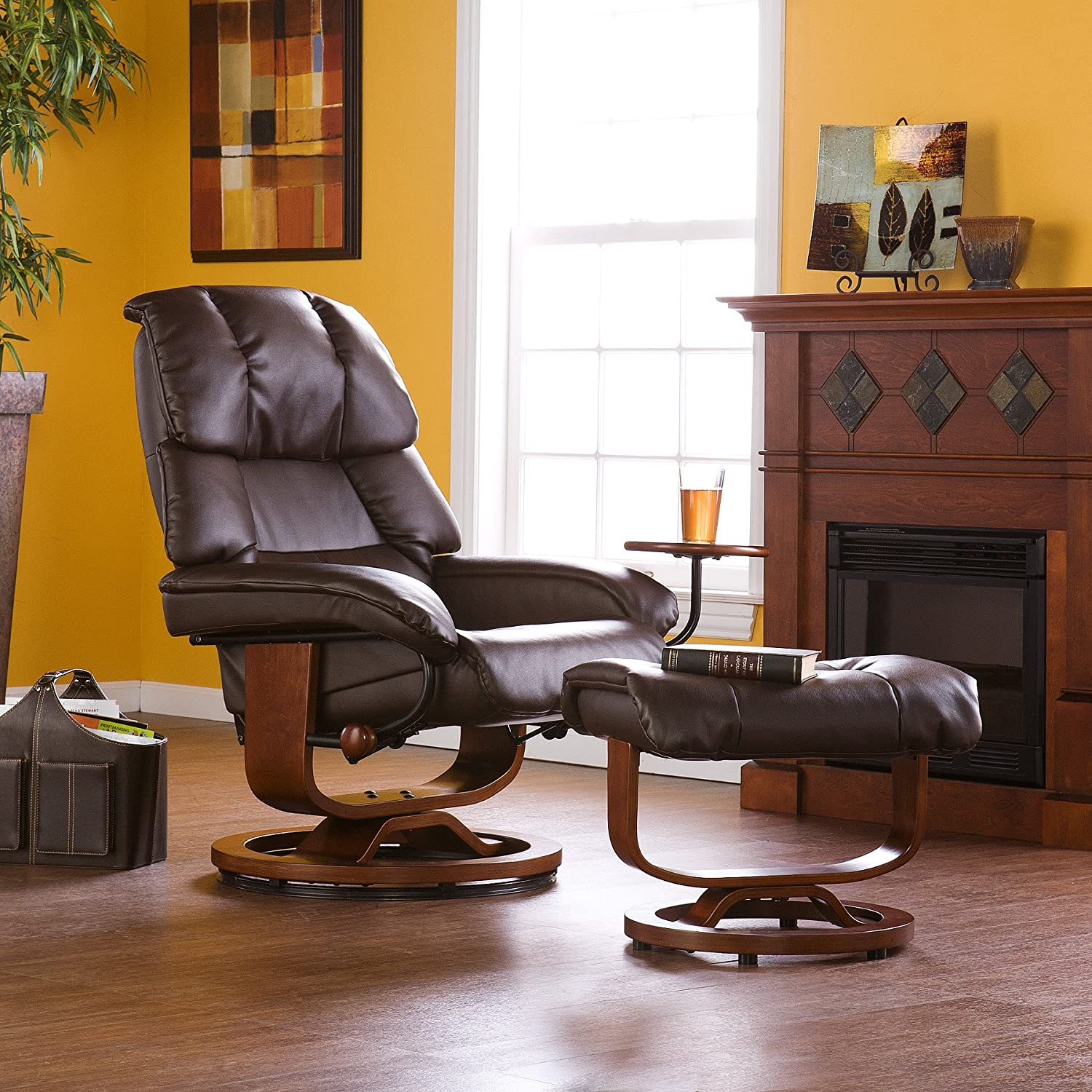 Amazon Bonded Leather Recliner and Ottoman Cafe Brown